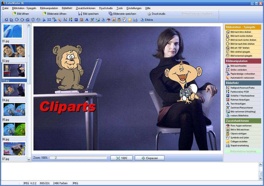 bildbearbeitungsprogramm mit cliparts